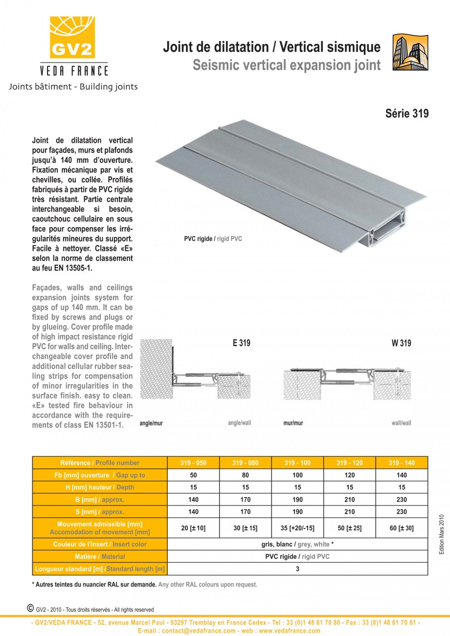 Pagina 4 - Profile de dilatatie pentru tavane si pereti VEDA Facades and ceilings expansion joints...
