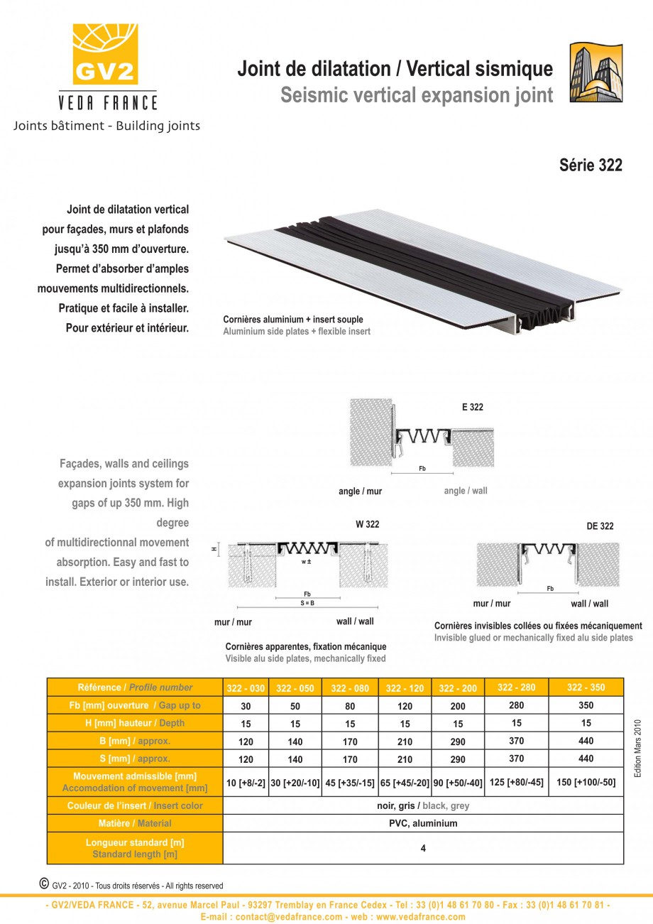 Pagina 6 - Profile de dilatatie pentru tavane si pereti VEDA Facades and ceilings expansion joints...