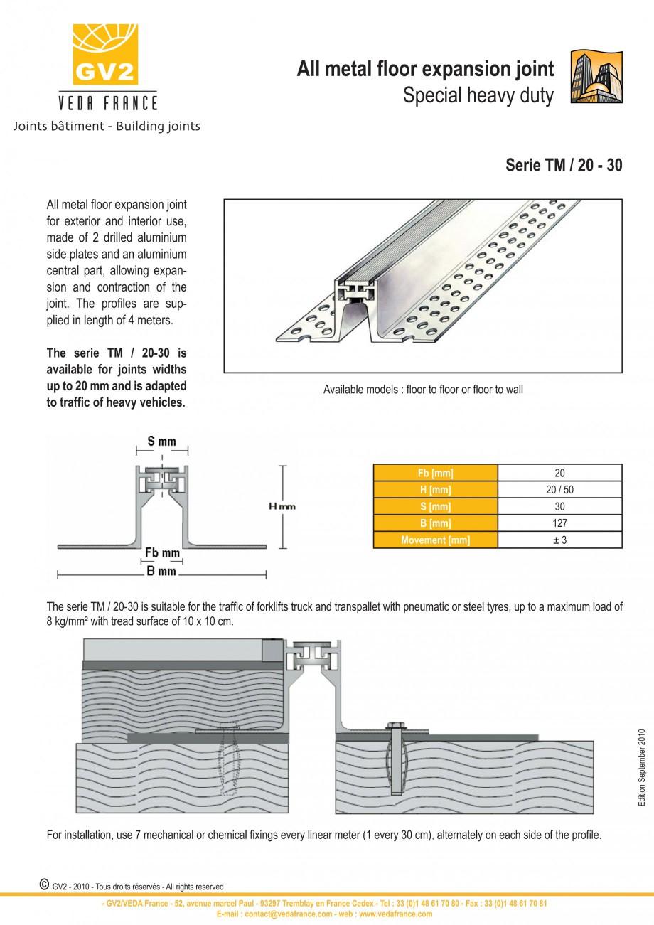 Pagina 1 - Profile de dilatatie metalice pentru pardoseli VEDA Expansion joint (all metal) Fisa...