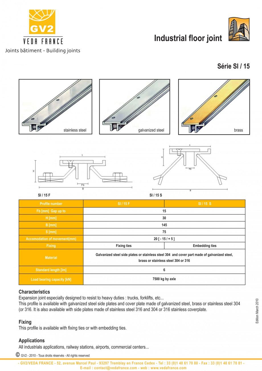 Pagina 2 - Profile de dilatatie metalice pentru pardoseli VEDA Expansion joint (all metal) Fisa...