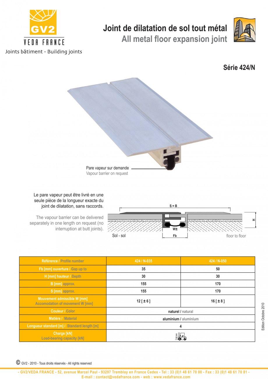 Pagina 3 - Profile de dilatatie metalice pentru pardoseli VEDA Expansion joint (all metal) Fisa...