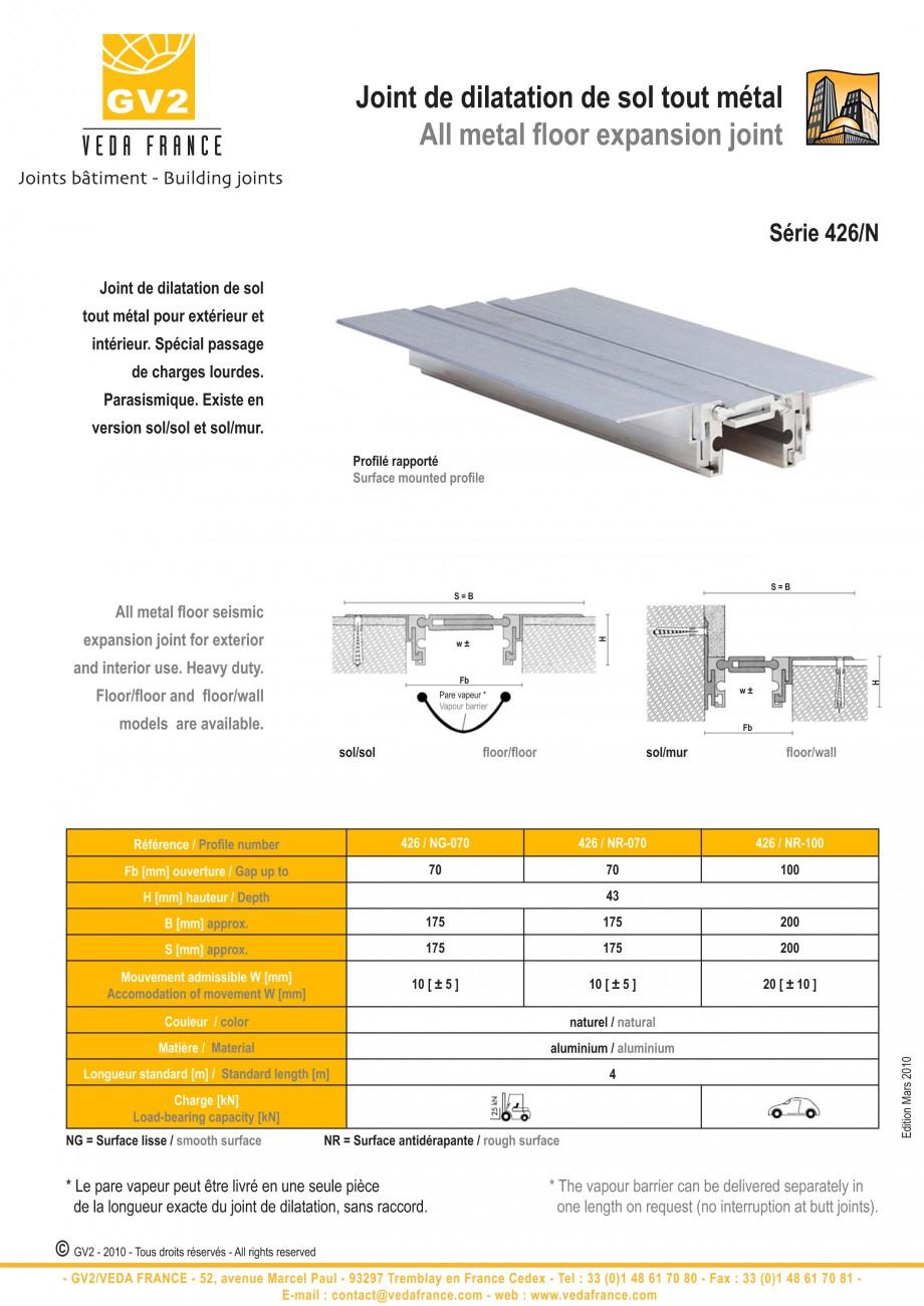 Pagina 4 - Profile de dilatatie metalice pentru pardoseli VEDA Expansion joint (all metal) Fisa...
