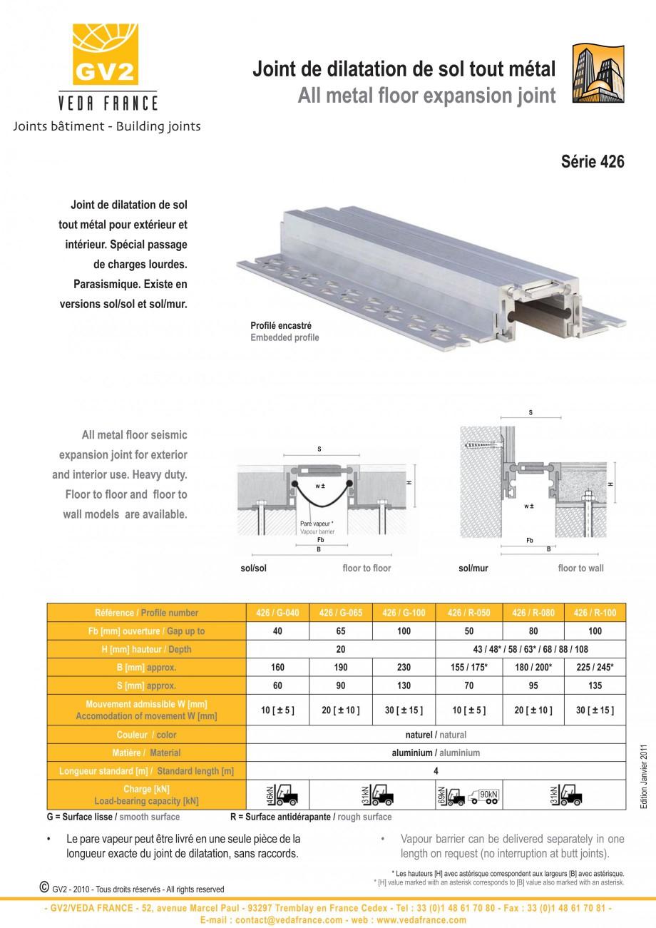 Pagina 5 - Profile de dilatatie metalice pentru pardoseli VEDA Expansion joint (all metal) Fisa...