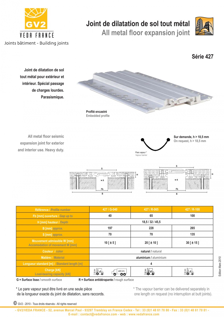 Pagina 6 - Profile de dilatatie metalice pentru pardoseli VEDA Expansion joint (all metal) Fisa...