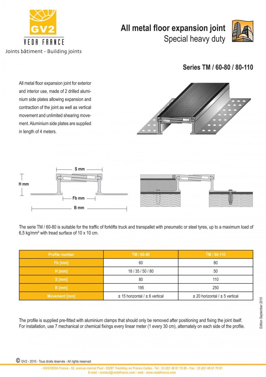 Pagina 7 - Profile de dilatatie metalice pentru pardoseli VEDA Expansion joint (all metal) Fisa...