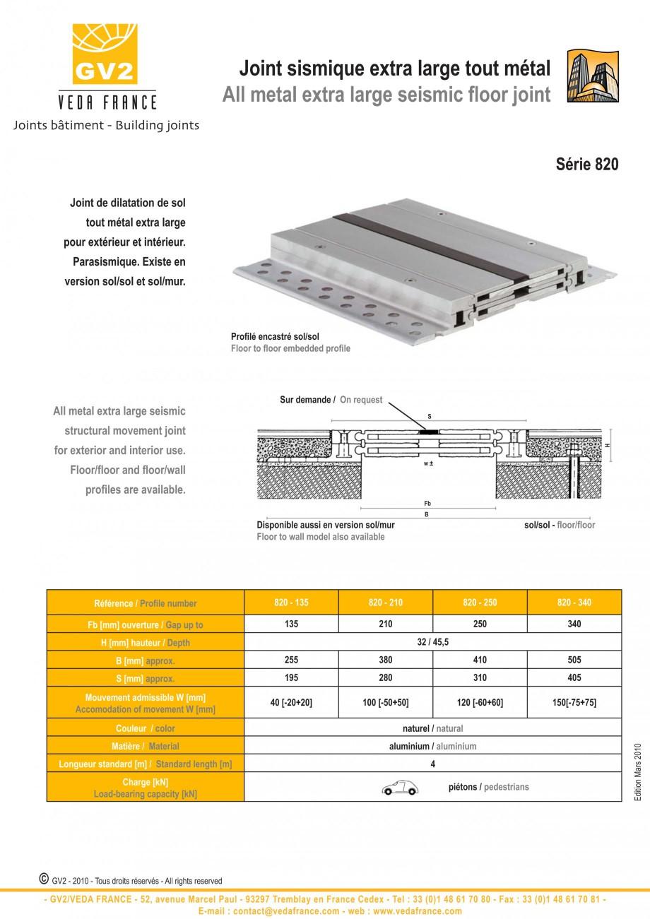 Pagina 9 - Profile de dilatatie metalice pentru pardoseli VEDA Expansion joint (all metal) Fisa...