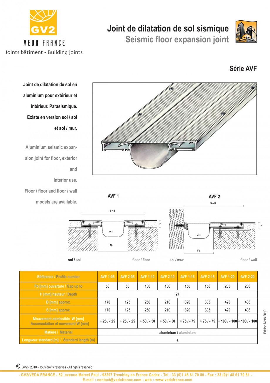 Pagina 12 - Profile de dilatatie metalice pentru pardoseli VEDA Expansion joint (all metal) Fisa...