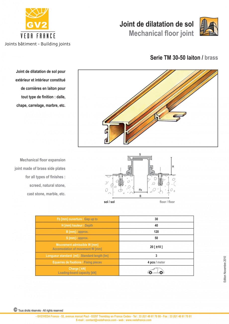 Pagina 16 - Profile de dilatatie metalice pentru pardoseli VEDA Expansion joint (all metal) Fisa...