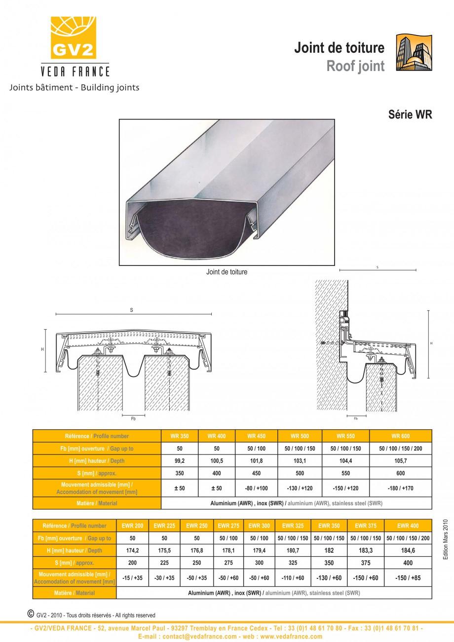 Pagina 1 - Profile de dilatatie pentru acoperis (calcane) VEDA Roof expansion joint Fisa tehnica...