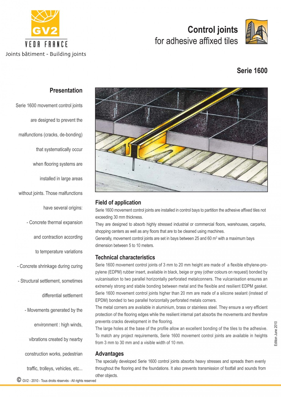 Pagina 1 - Profile de dilatatie pentru finisaje pardoseala VEDA Control joints and tile dividers...