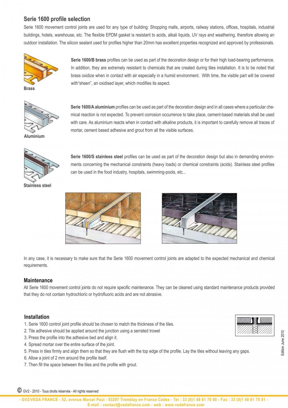 Pagina 2 - Profile de dilatatie pentru finisaje pardoseala VEDA Control joints and tile dividers...