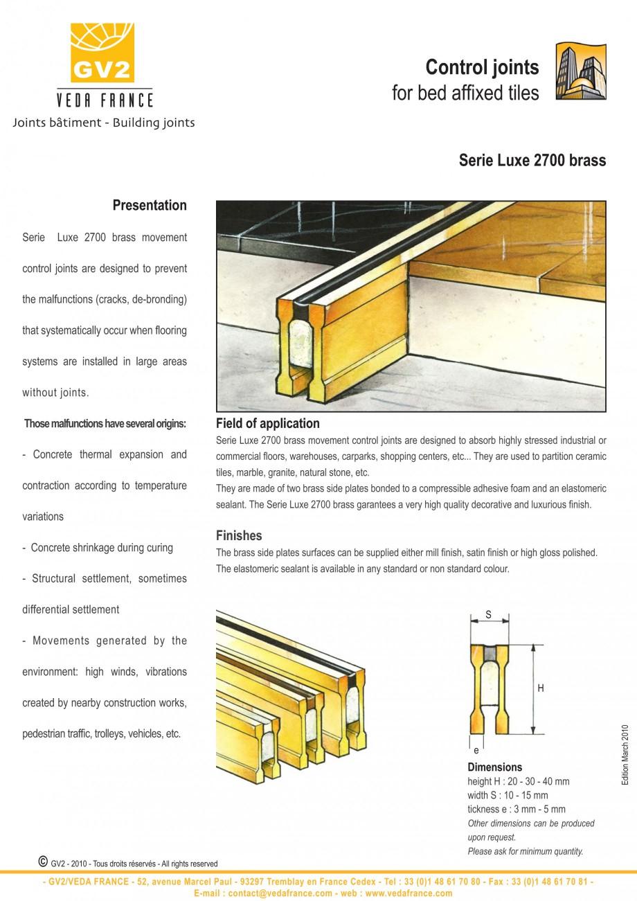 Pagina 5 - Profile de dilatatie pentru finisaje pardoseala VEDA Control joints and tile dividers...