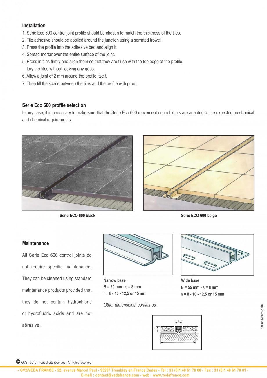 Pagina 10 - Profile de dilatatie pentru finisaje pardoseala VEDA Control joints and tile dividers...