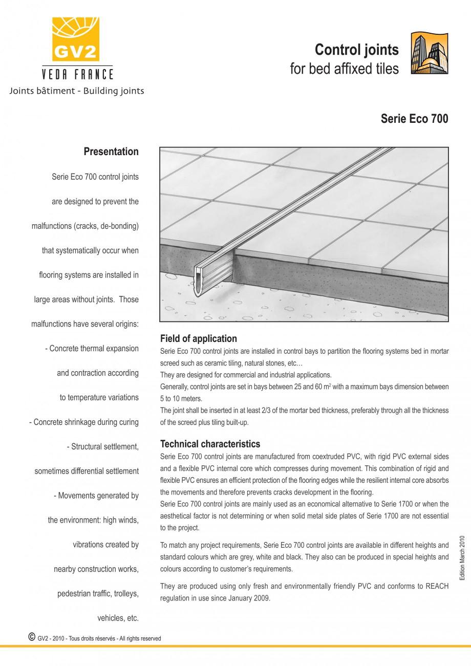 Pagina 11 - Profile de dilatatie pentru finisaje pardoseala VEDA Control joints and tile dividers...