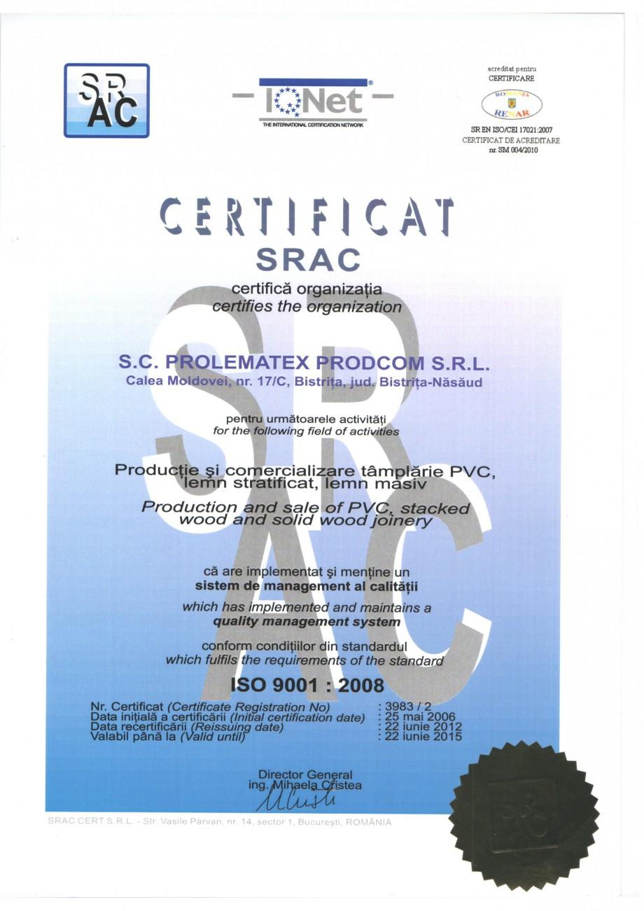 Pagina 1 - Certificat ISO Prolematex PROLEMATEX Certificare produs Romana, Engleza