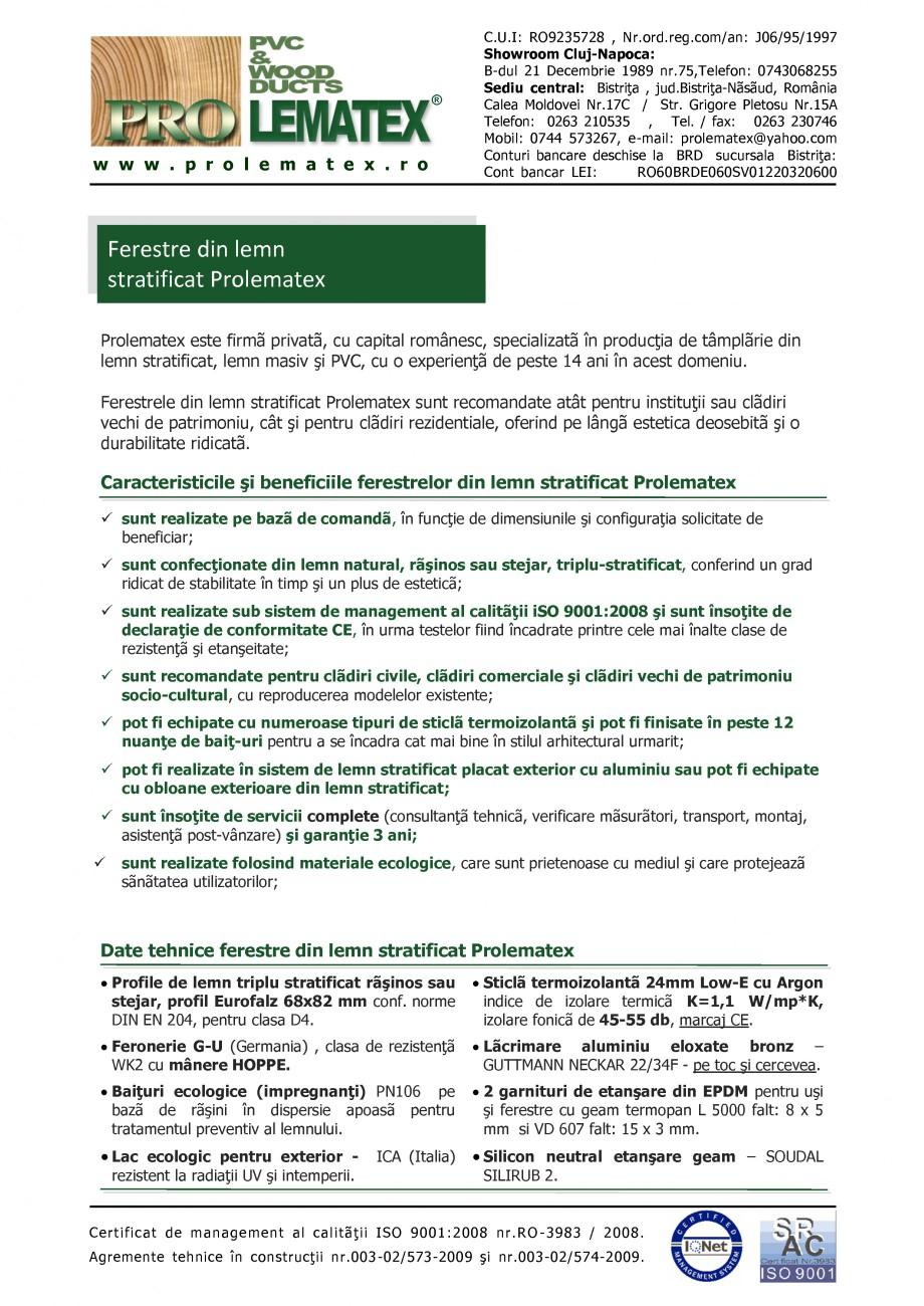 Pagina 1 - Ferestre din lemn stratificat PROLEMATEX Fisa tehnica Romana ®  w w w . p r o l e m a t ...