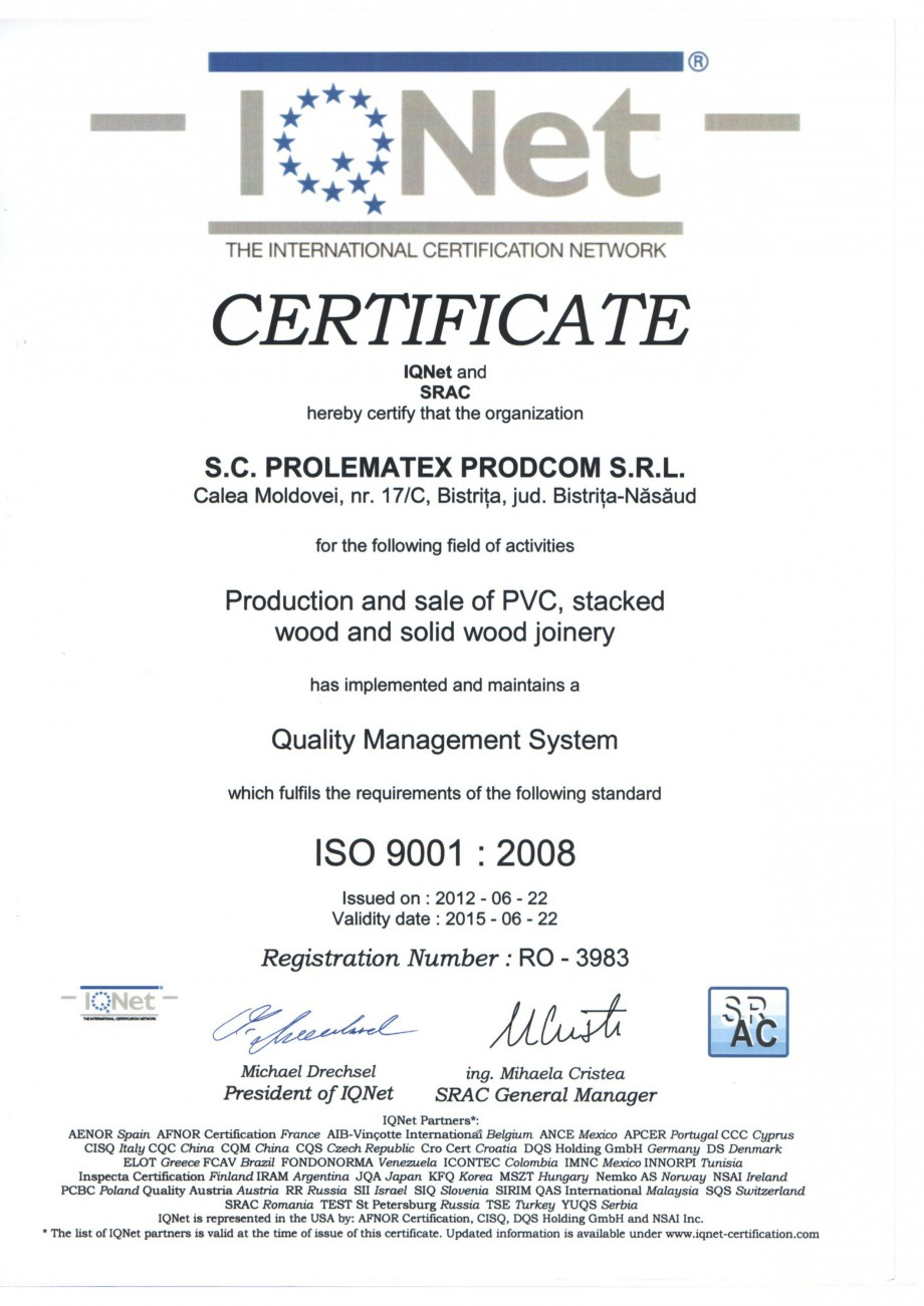 Pagina 2 - Certificat ISO PROLEMATEX Certificare produs Romana, Engleza