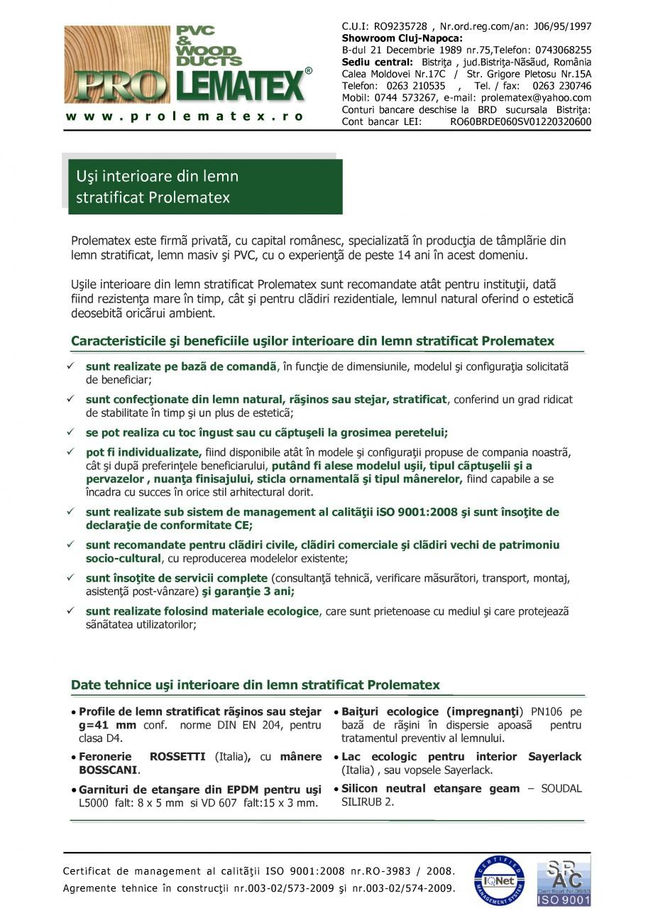 Pagina 1 - Usi de interior din lemn stratificat  PROLEMATEX Fisa tehnica Romana ®  w w w . p r o l ...