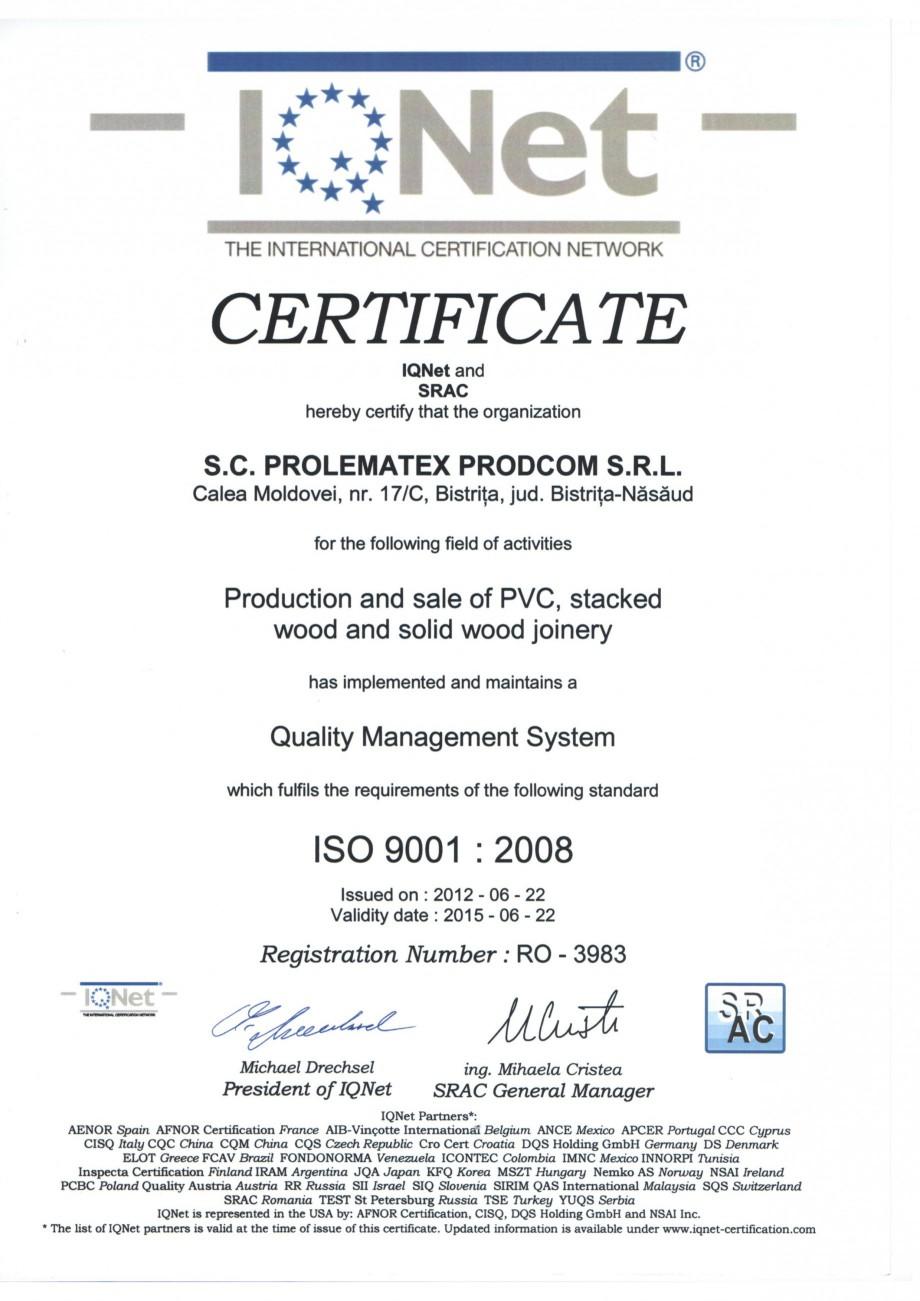 Pagina 2 - Certificat ISO PROLEMATEX Certificare produs Romana