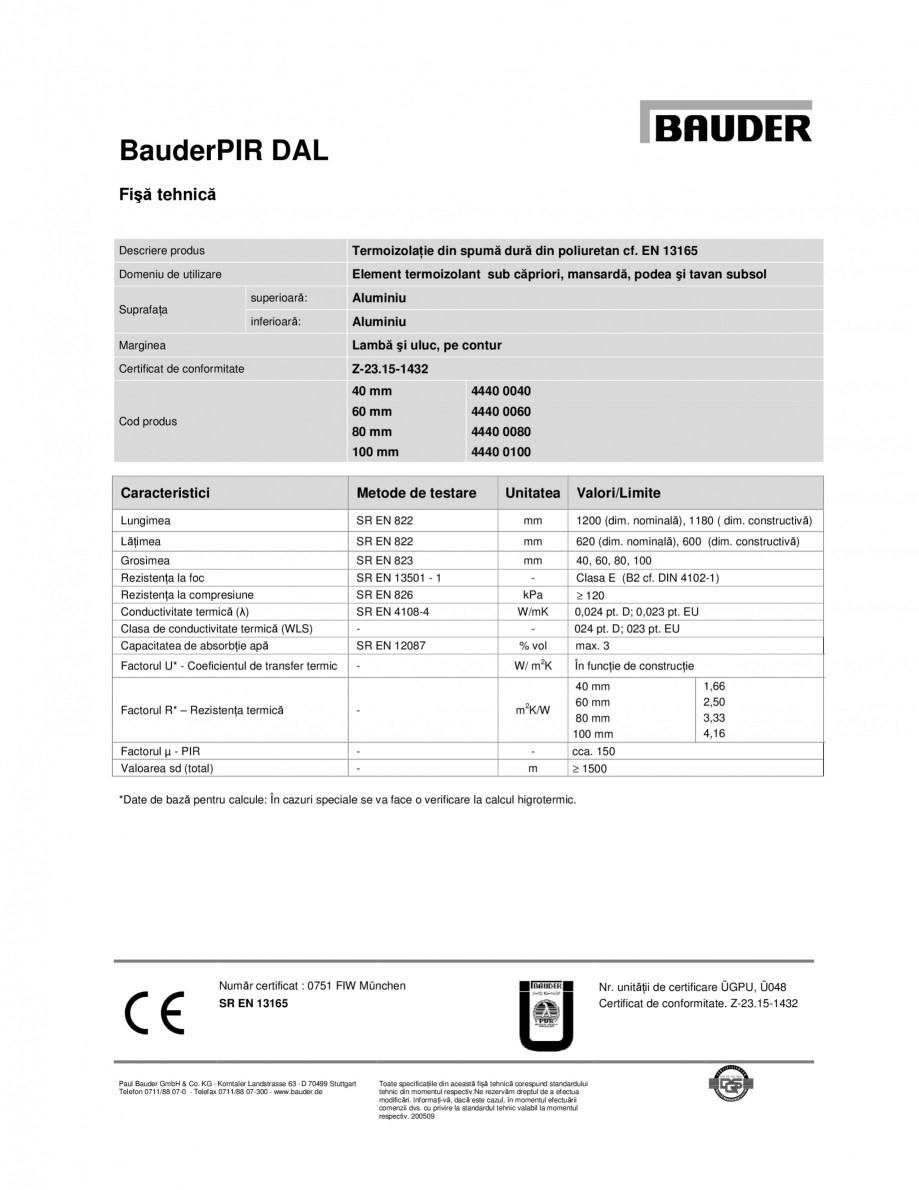 Pagina 1 - Termoizolatie din spuma dura din poliuretan BAUDER PIR DAL Fisa tehnica Engleza BauderPIR...