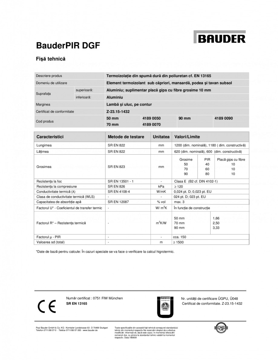 Pagina 1 - Termoizolatie din spuma dura din poliuretan BAUDER PIR DGF Fisa tehnica Engleza BauderPIR...
