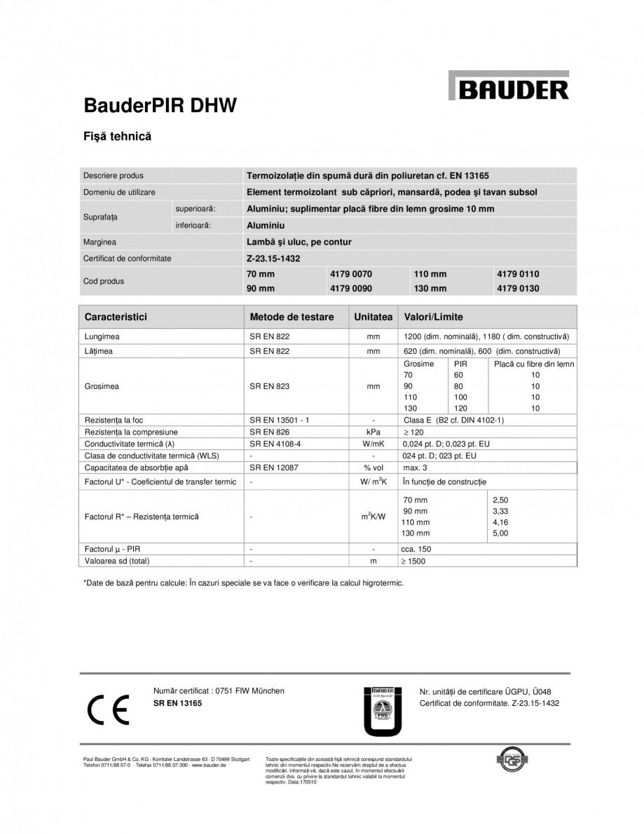 Pagina 1 - Termoizolatie din spuma dura din poliuretan BAUDER PIR DHW Fisa tehnica Engleza BauderPIR...