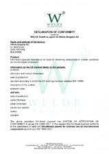 Placaj TEGO Welde - Declaratie de conformitate - EN non structural WELDE