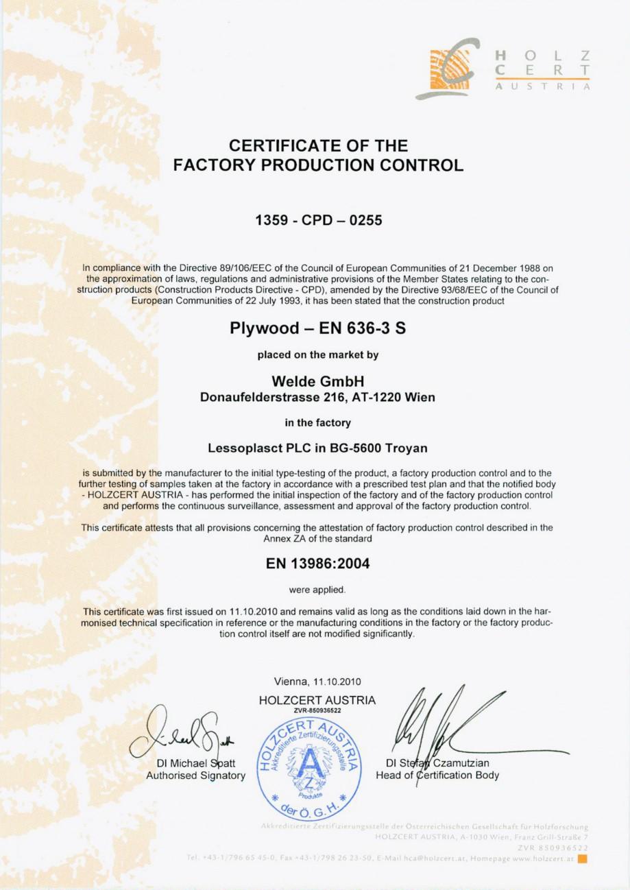 Pagina 1 - Placaj brut - Certificat control productie placaj WELDE Certificare produs Engleza