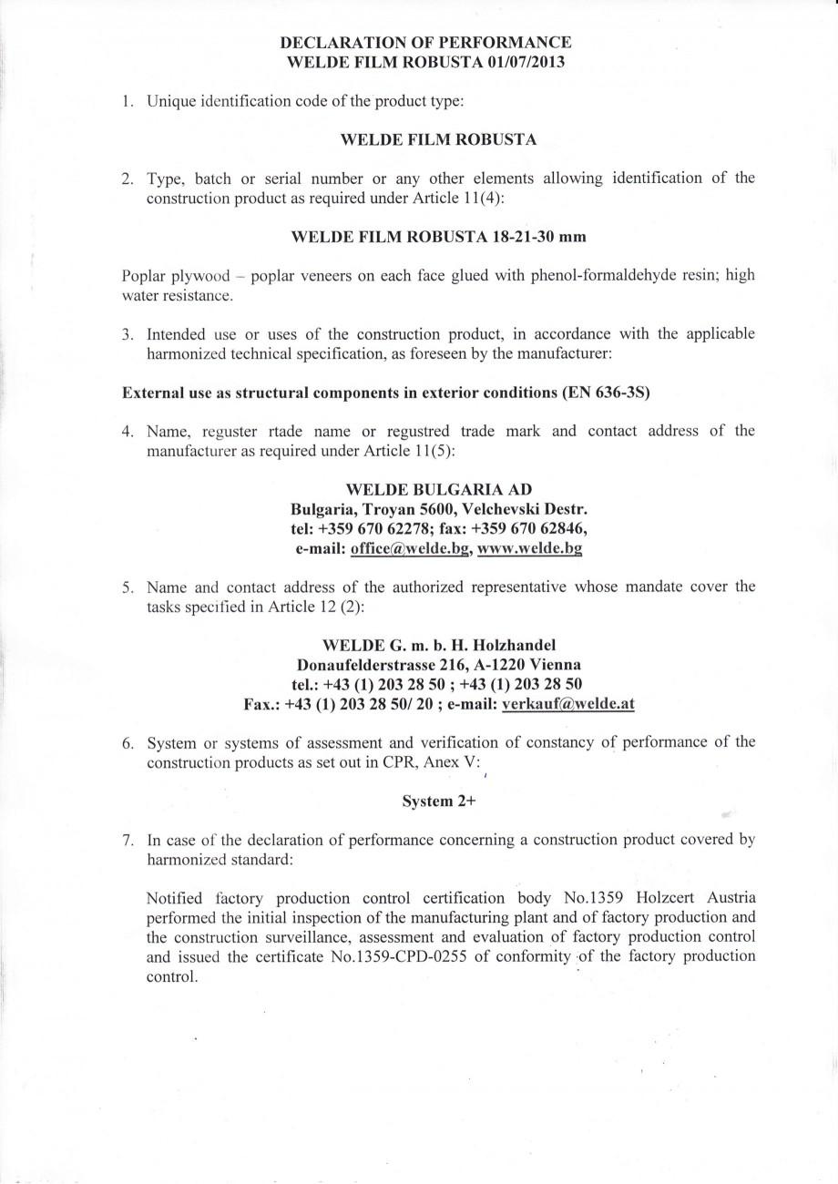 Pagina 1 - Placaj brut - Declaratia de performanta WELDE Certificare produs Engleza DECLARATION OF...