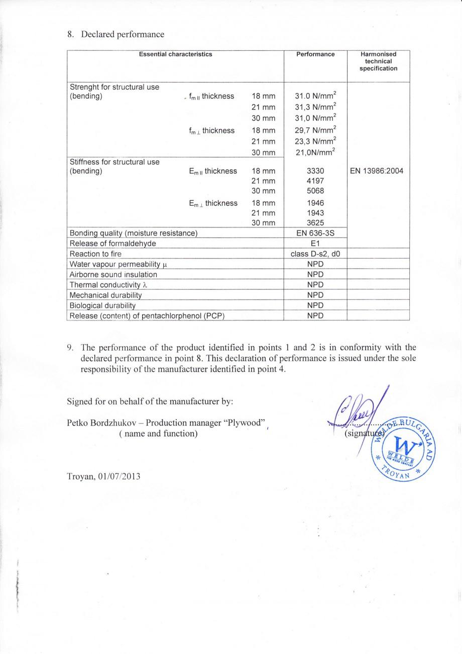 Pagina 2 - Placaj brut - Declaratia de performanta WELDE Certificare produs Engleza tasks specified ...
