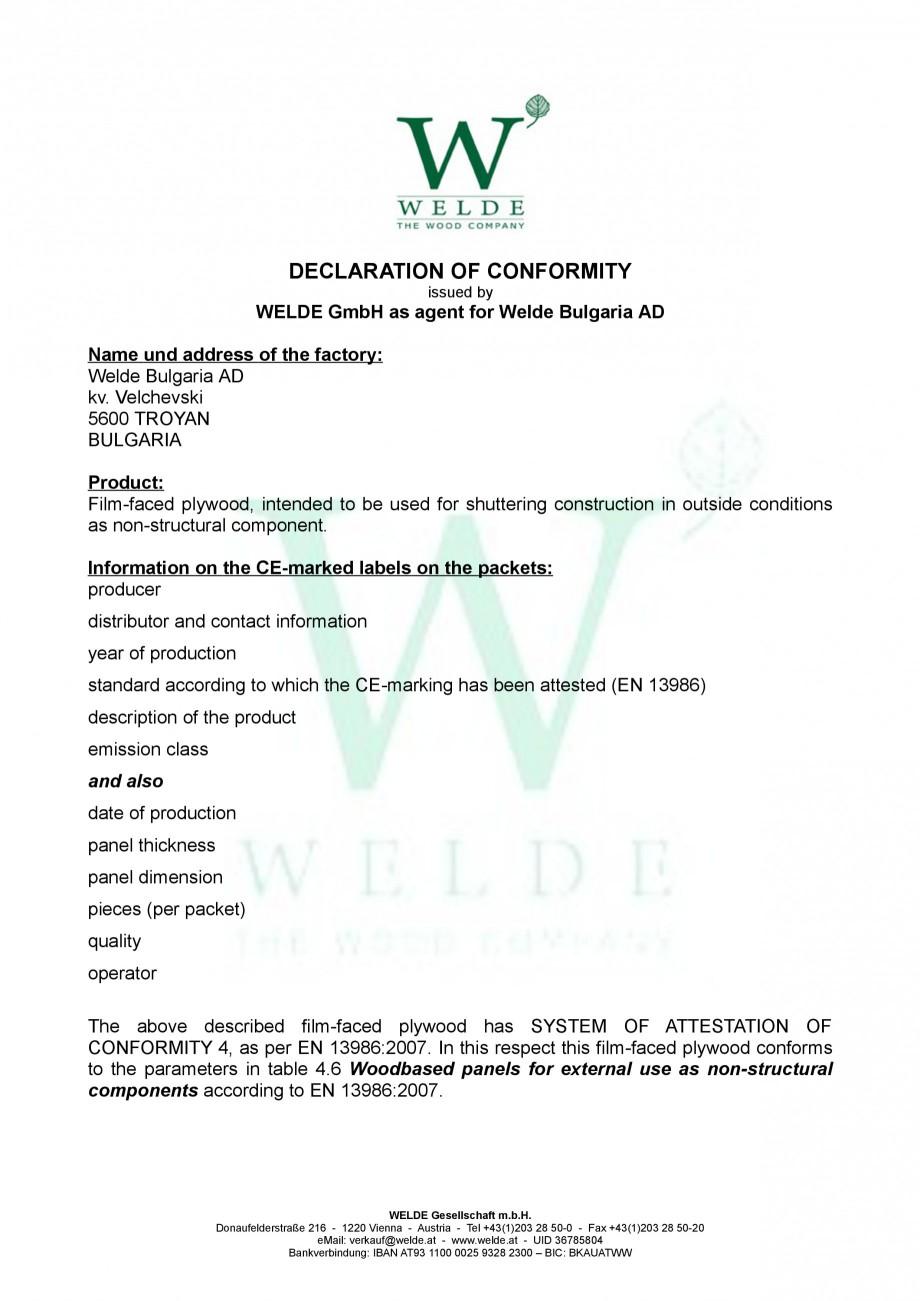 Pagina 1 - Placaj brut - Declaratie de conformitate - EN non structural WELDE Certificare produs...