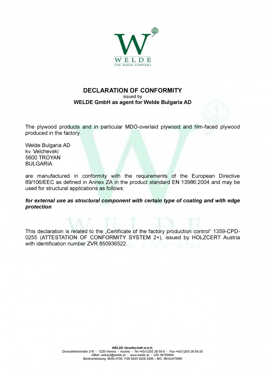 Pagina 1 - Placaj brut - Declaratie de conformitate - EN structural WELDE Certificare produs Engleza...
