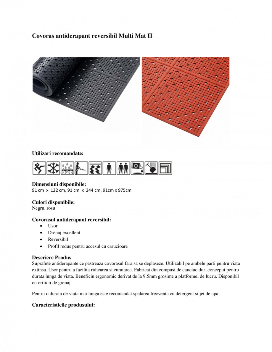 Pagina 1 - Covoras antiderapant reversibil EUROMATT Multi Mat II Fisa tehnica Covoras antiderapant...