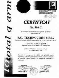 Certificat ISO 506 Calitate