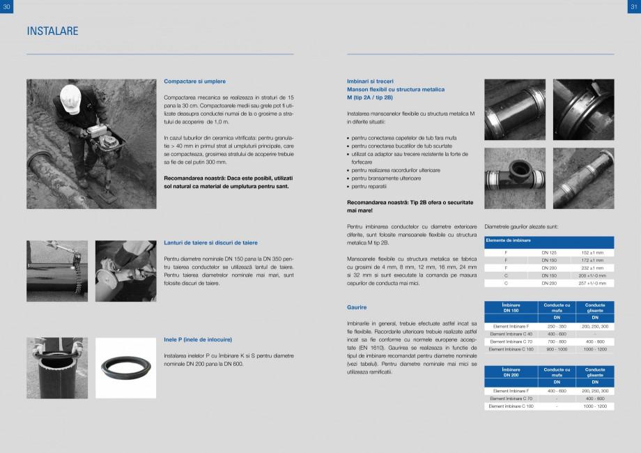 Catalog, brosura Sisteme de conducte de canalizare din ceramica vitrificata STEINZEUG KERAMO Tuburi ceramice HTI INTERNATIONAL ROMANIA hnologia de racordare si imbinare, aceasta include:  Mufe de imbinare C  - DN 150 si DN 200 ... - Pagina 15