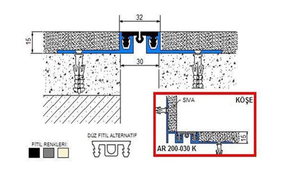 Profile pentru pereti si tavane pentru rost de 30 mm ARFEN - Poza 1