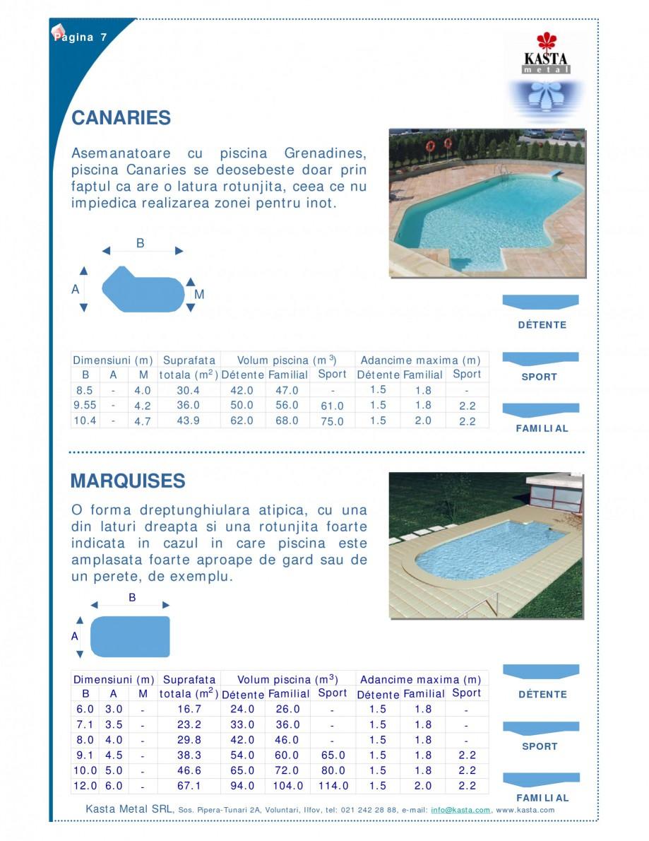 Pagina 1 - Piscine modulare KASTA METAL CANARIES, MARQUISES Fisa tehnica Romana Pagina 7  CANARIES...