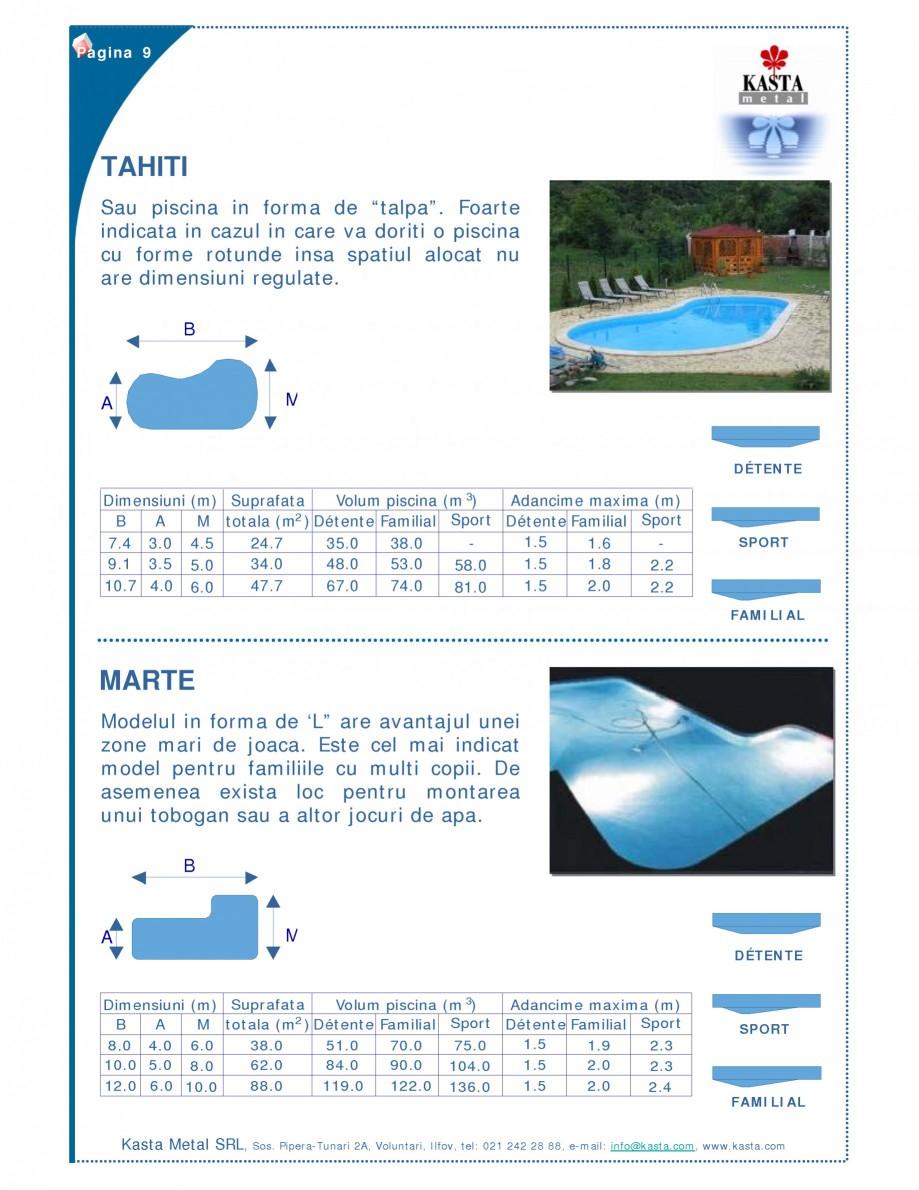 Pagina 1 - Piscine modulare KASTA METAL TAHITI, MARTE Fisa tehnica Romana Pagina 9  TAHITI Sau...