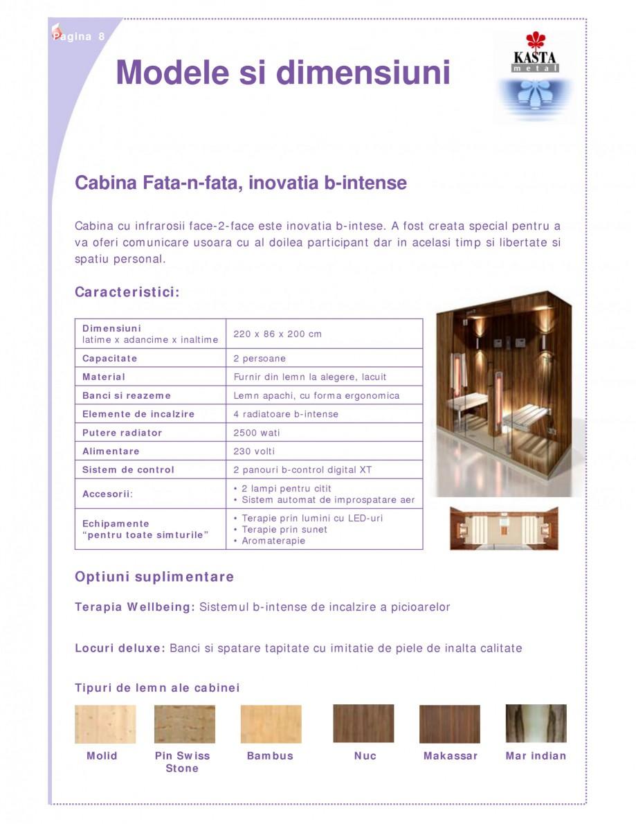 Pagina 1 - Cabina de saune cu infrarosu KASTA METAL face-2-face Fisa tehnica Romana Pagina 8  Modele...