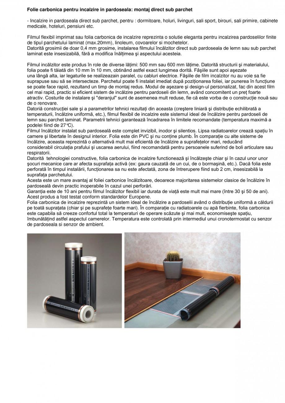 Pagina 1 - Folie carbonica pentru incalzire in pardoseala FENIX ECOFILM Catalog, brosura Romana...