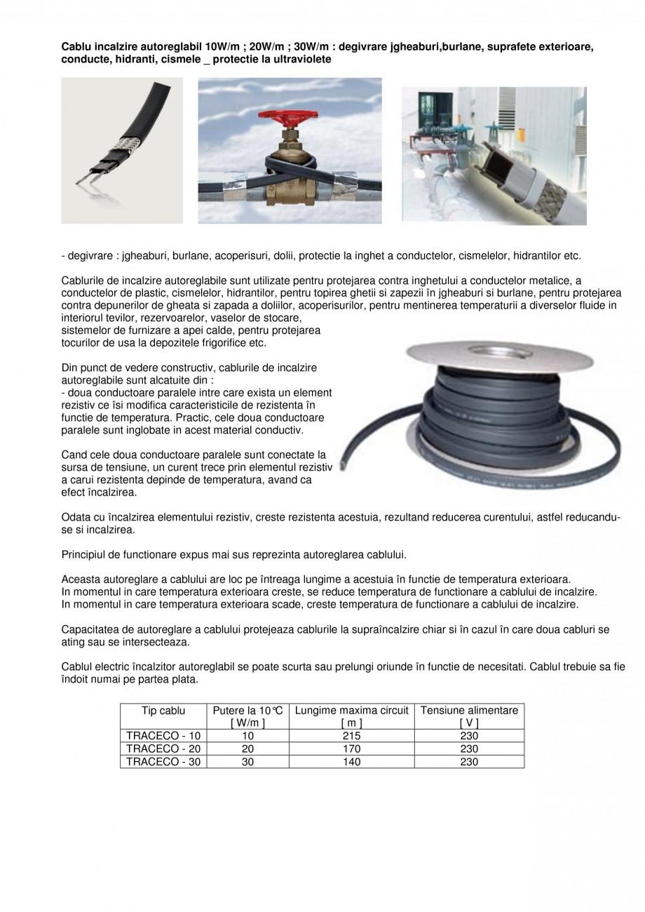 Pagina 1 - Cablu incalzitor autoreglabil pentru degivrare FENIX Autoreglabil 10/20/30 W Fisa tehnica...