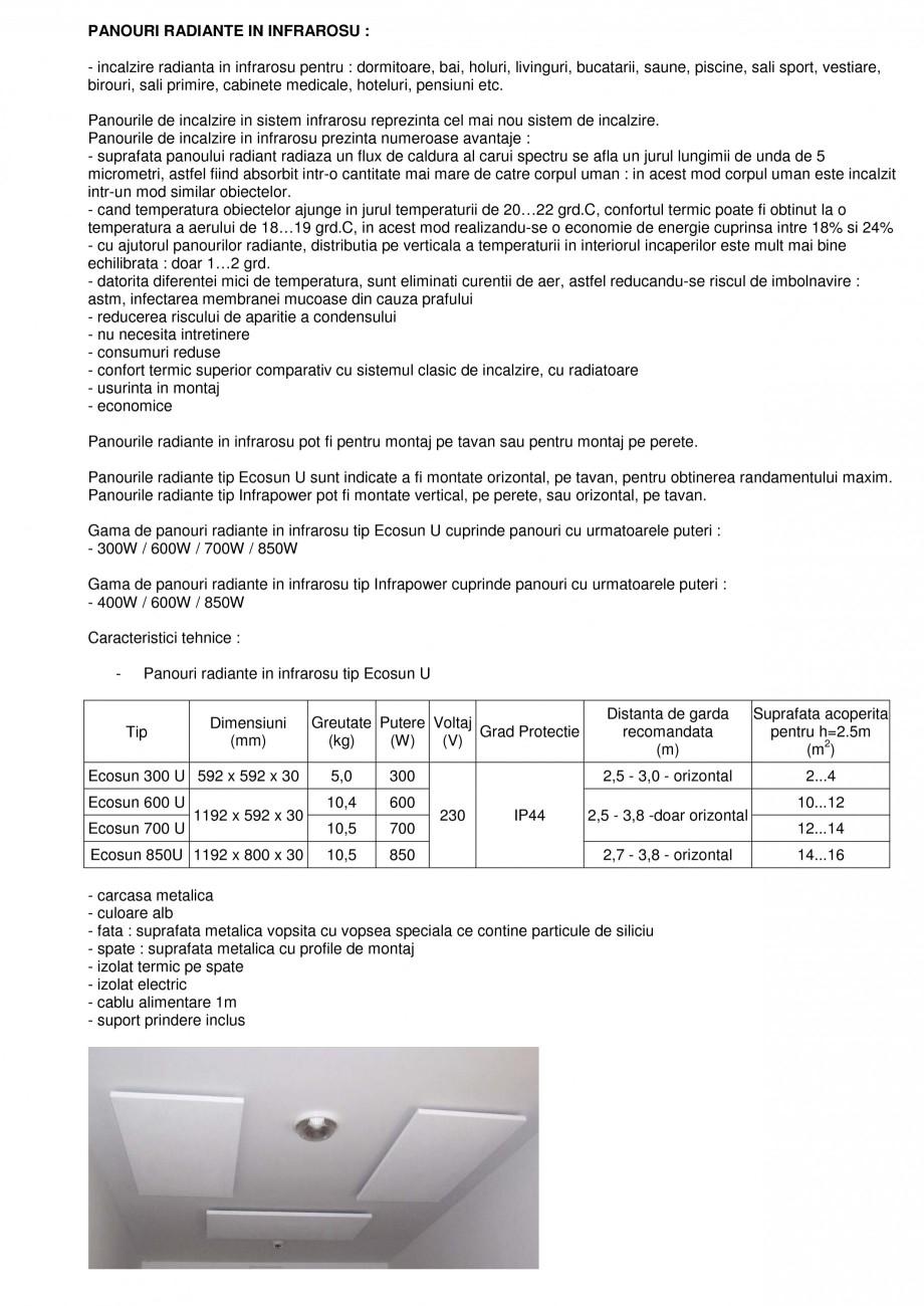 Pagina 1 - Panouri radiante infrarosu FENIX ECOSUN U, INFRAPOWER Fisa tehnica Romana PANOURI...
