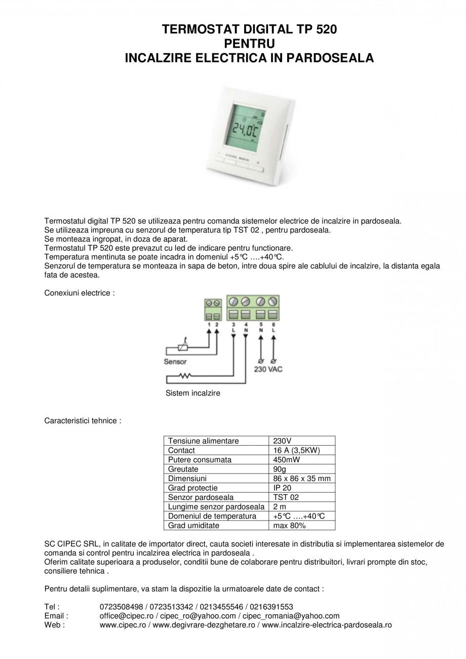 Pagina 1 - Termostat digital pentru incalzire electrica in pardoseala I-WARM TP 520 Fisa tehnica...