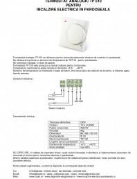 Termostat analogic pentru incalzire electrica in pardoseala