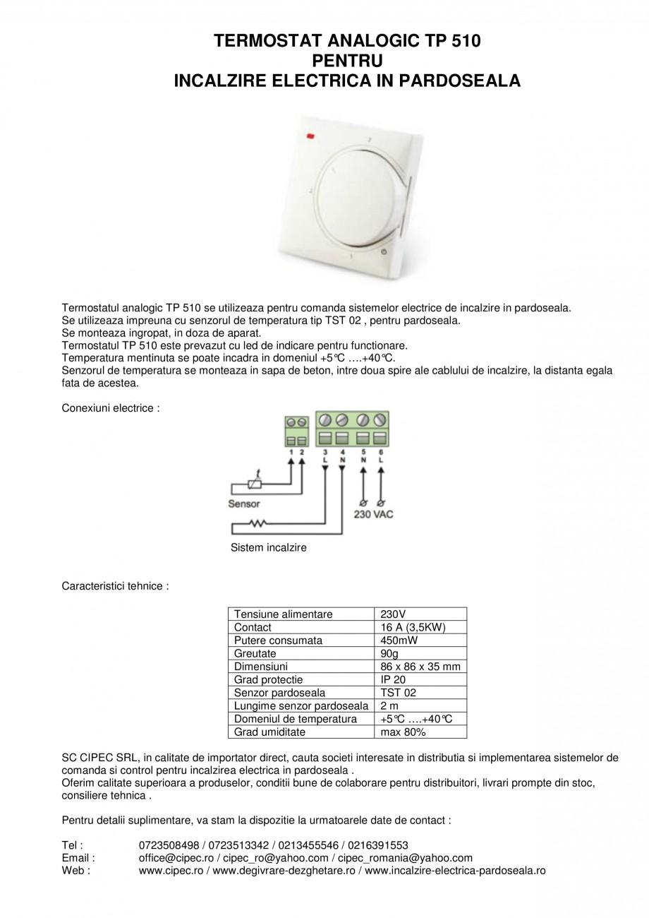 Pagina 1 - Termostat analogic pentru incalzire electrica in pardoseala I-WARM TP 510 Fisa tehnica...