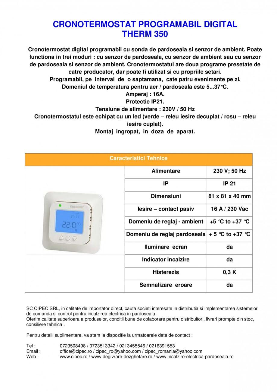 Pagina 1 - Cronotermostat digital programabil EBECO THERM 350 Fisa tehnica Romana CRONOTERMOSTAT...