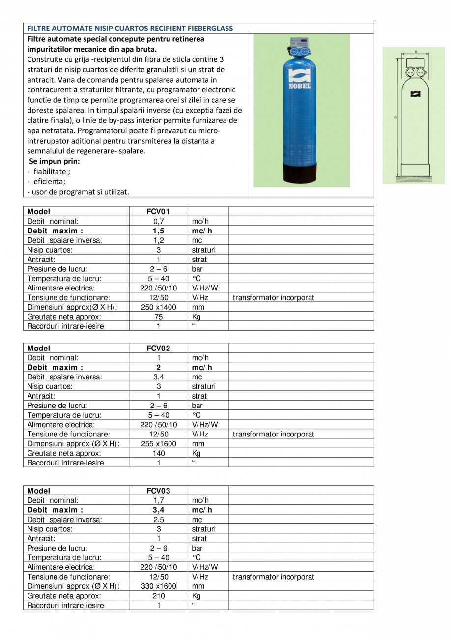 Pagina 1 - Filtre automate nisip cuartos recipient Fiberglass NOBEL FCV01, FCV02, FCV03, FCV04,...