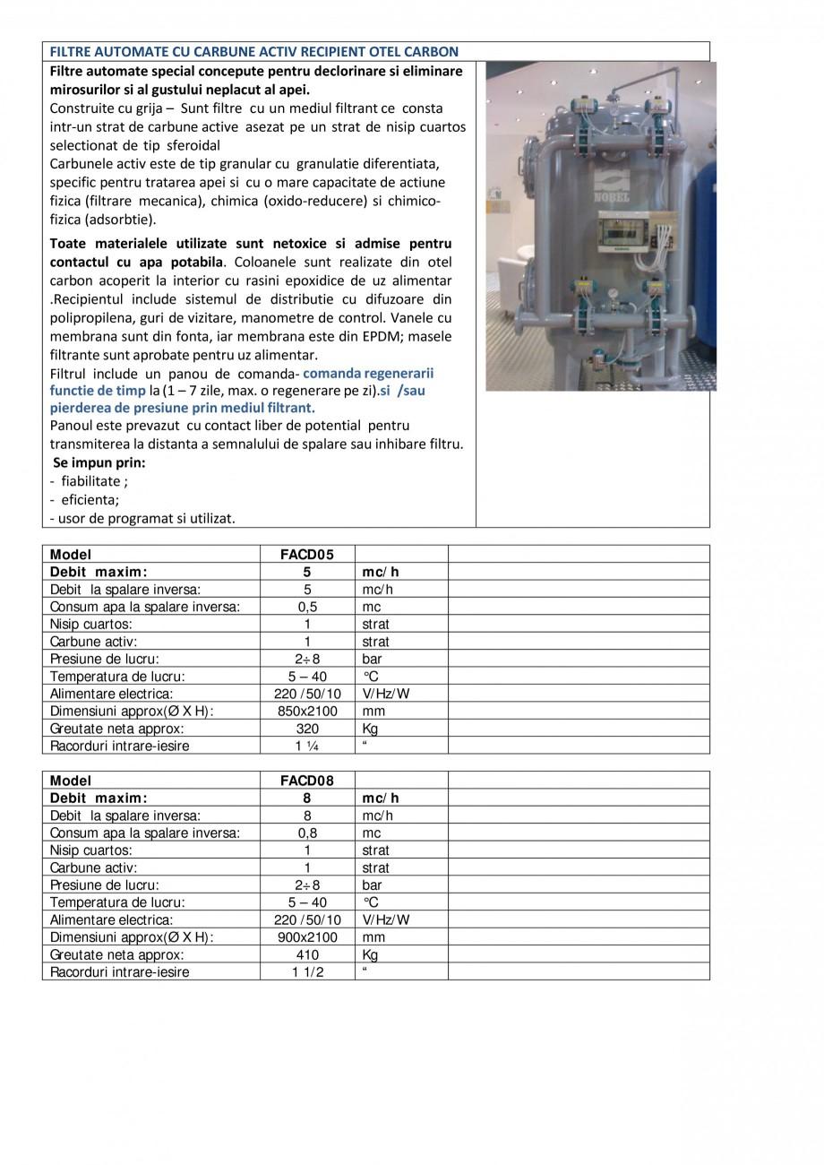 Pagina 1 - Filtre automate carbune activ recipient otel carbon NOBEL FACD05, FACD08, FACD11, FACD15,...