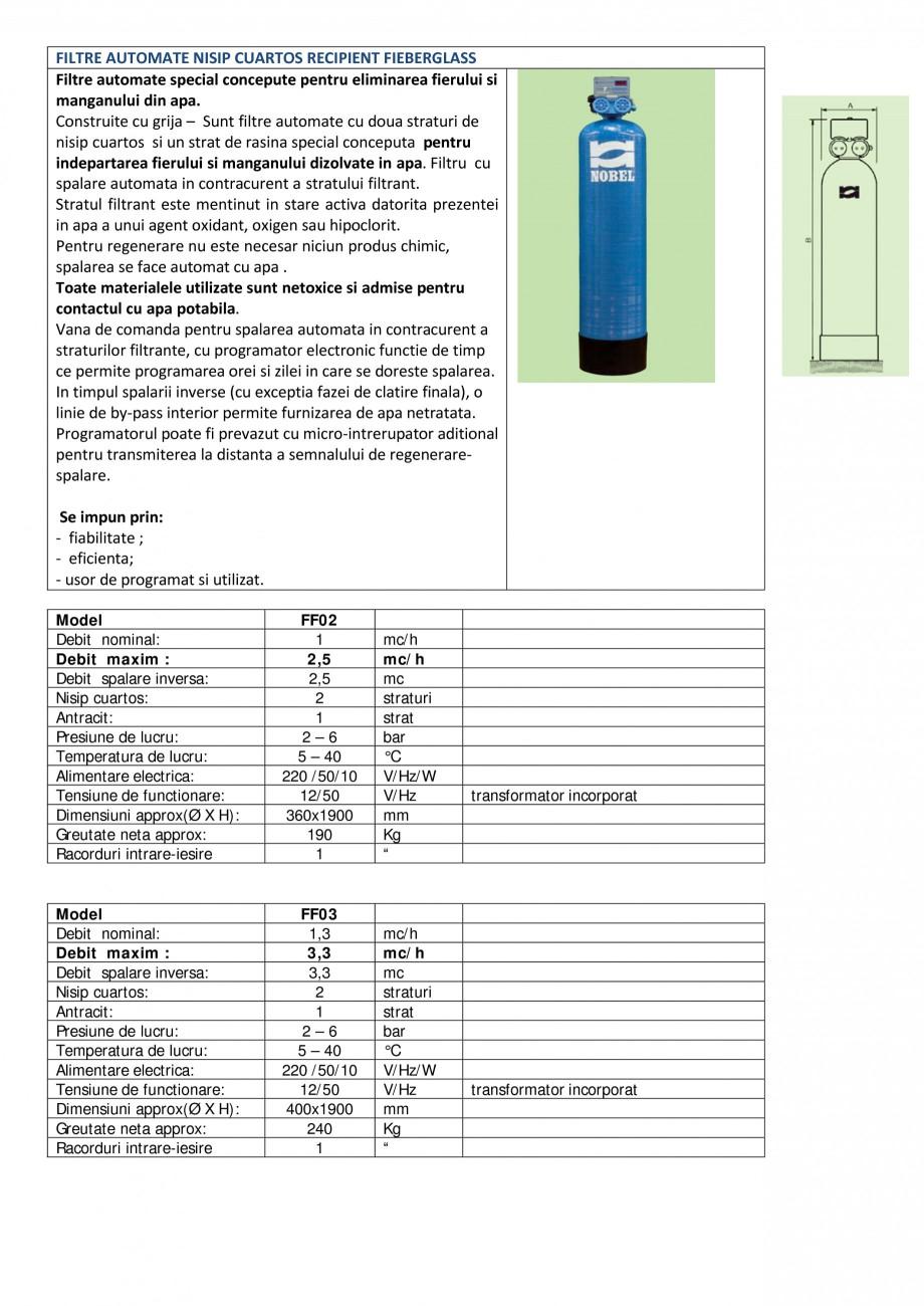 Pagina 1 - Filtre automate deferizatoare recipient Fieberglass   NOBEL FF02, FF03, FF04, FF06, FF09 ...