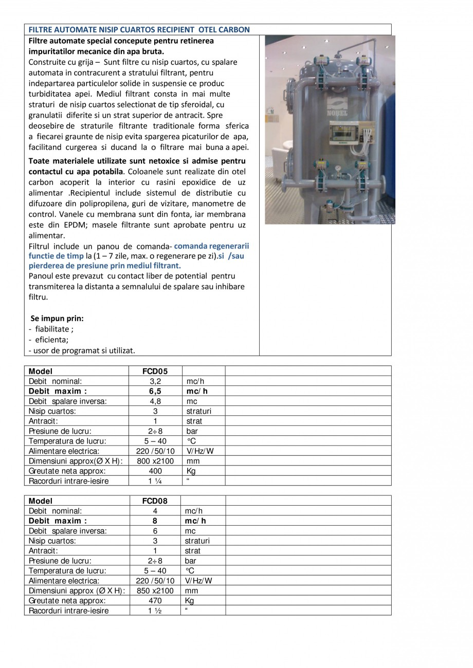 Pagina 1 - Filtre automate nisip cuartos recipient otel carbon NOBEL FCD05, FCD08, FCD11, FCD15,...